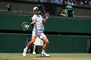 15 July 2018.  The Wimbledon Tennis Championships 2018 held at The All England Lawn Tennis and Croquet Club, London, England, UK.  <br /> <br /> GENTLEMEN'S SINGLES FINAL on Centre Court.  <br /> <br /> Kevin Anderson v Novak Djokovic<br /> <br /> <br /> Pictured:- Novak Djokovic.