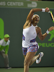 March 28, 2018 - Key Biscayne, Florida, U.S. - Danielle Collins of the USA defeats Venus Williams of the USA 6-2 6-3 during the quarterfinals match on Day 10 of the Miami Open Presented by Itau at Crandon Park Tennis Center. (Credit Image: © SMG via ZUMA Wire)