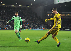 West Bromwich Albion's Ben Foster closes down West Ham's Adrian in the last minute of the game - Photo mandatory by-line: Dougie Allward/JMP - Mobile: 07966 386802 - 02/12/2014 - SPORT - Football - West Bromwich - The Hawthorns - West Bromwich Albion v West Ham United - Barclays Premier League