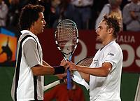 Tennis, 22. januar 2003, Australian open, Andy Roddick og Younes El Aynaoui<br />Foto: Roger Parker, Digitalsport