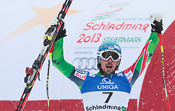 09.02.2013, Planai, Schladming, AUT, FIS Weltmeisterschaften Ski Alpin, Abfahrt, Herren, im Bild Andreas Romar (FIN) // Andreas Romar of Finland reacts after his race of mens Downhill during FIS Ski World Championships 2013 at the Planai Course, Schladming, Austria on 2013/02/09. EXPA Pictures © 2013, PhotoCredit: EXPA/ Johann Groder#