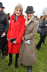 Left to right, LADY LLOYD-WEBBER and CLARE BALDING at the 2015 Hennessy Gold Cup held at Newbury Racecourse, Berkshire on 28th November 2015.