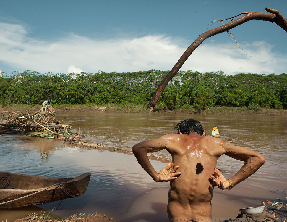 Flood-driven debris clogs the Maniqui River shallows where Cunay bathes. A great orange tip butterfly, common in the Amazon, casts a shadow on his back. Even in old age – Cunay is 78 - most Tsimane remain lean from walking miles a day to gather enough food to survive.