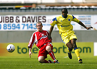 Photo: Chris Ratcliffe.<br />Leyton Orient v Peterborough United. Coca Cola League 2. 29/04/2006.<br />Joe Keith of Orient (R) gets the ball away from Richard Logan of Peterborough.