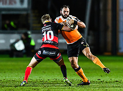 Cheetahs' Niel Marais is tackled by Dragons' Arwel Robson<br /> <br /> Photographer Craig Thomas/Replay Images<br /> <br /> Guinness PRO14 Round 18 - Dragons v Cheetahs - Friday 23rd March 2018 - Rodney Parade - Newport<br /> <br /> World Copyright © Replay Images . All rights reserved. info@replayimages.co.uk - http://replayimages.co.uk