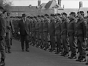 1983-04-12.12th April 1983.12-04-1983.04-12-83...Photographed at McKee Barracks, Cork..Reviewing the toops..From left to right:..Lieutenant Colonel Thomas McGrath.Capt Walter Young (partially eclipsed).Defence Minister Patrick Cooney TD.
