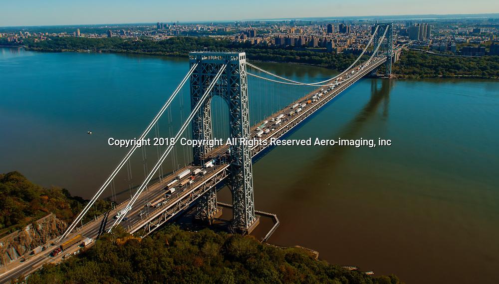 Aerial view of the George Washington Bridge during rush hour