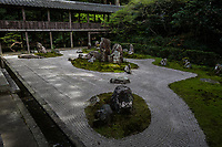 Ryotanji Temple is located at the foot of Sawayama Hill. This temple is known as an Ii Family temple who built Hikone Castle and includes a tea ceremony room used by Naosuke Ii. Famous fusuma door paintings by the artist Kyoroku Morikawa, a student of Basho Matsuo, can also be admired here. Ryotanji Temple is most famous for its Japanese garden named Fudaraku.  With the Pure Land of the Kannon, Mt. Fudaraku, in the center and 48 large and small stones placed around it in a radial pattern, this renowned garden forms an extraordinary scene - besides this special garden there are smaller gardens.