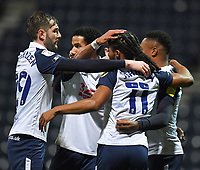 Preston North End's Daniel Johnson is congratulated on scoring from the spot<br /> <br /> Photographer Dave Howarth/CameraSport<br /> <br /> The EFL Sky Bet Championship - Preston North End v Bristol City - Friday 18th December 2020 - Deepdale - Preston<br /> <br /> World Copyright © 2020 CameraSport. All rights reserved. 43 Linden Ave. Countesthorpe. Leicester. England. LE8 5PG - Tel: +44 (0) 116 277 4147 - admin@camerasport.com - www.camerasport.com