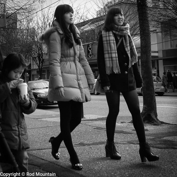 Girls walking, Robson Street Vancouver, BC