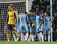 Leroy Sane of Manchester City celebrates scoring the equalising goal during the English Premier League match at the Etihad Stadium, Manchester. Picture date: December 18th, 2016. Picture credit should read: Simon Bellis/Sportimage