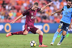January 8, 2018 - Brisbane, QUEENSLAND, AUSTRALIA - Daniel Bowles of the Roar (4) kicks the ball during the round fifteen Hyundai A-League match between the Brisbane Roar and Sydney FC at Suncorp Stadium on Monday, January 8, 2018 in Brisbane, Australia. (Credit Image: © Albert Perez via ZUMA Wire)