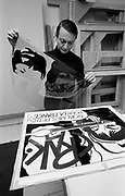 Roy Lichtenstein in his studio in New York
