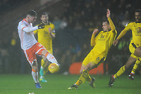 Blackpool's Jordan Thompson's shot is blocked by Oxford United's Jamie Hanson<br /> <br /> Photographer Kevin Barnes/CameraSport<br /> <br /> The EFL Sky Bet League One - Oxford United v Blackpool - Saturday 15th December 2018 - Kassam Stadium - Oxford<br /> <br /> World Copyright © 2018 CameraSport. All rights reserved. 43 Linden Ave. Countesthorpe. Leicester. England. LE8 5PG - Tel: +44 (0) 116 277 4147 - admin@camerasport.com - www.camerasport.com