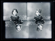 glass plate exposed with four little children portraits France ca 1920s