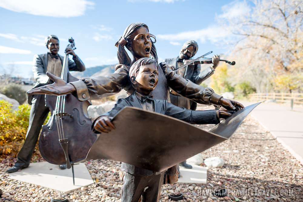 Bronze statues depicting musicians and singers in Golden, Colorado, just outside Denver at the eastern edge of the Rocky Mountains.