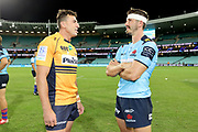 Tom Banks with Jake Gordon. NSW Waratahs v ACT Brumbies. 2021 Super Rugby AU Round 7 Match. Played at Sydney Cricket Ground on Friday 2 April 2021. Photo Clay Cross / photosport.nz