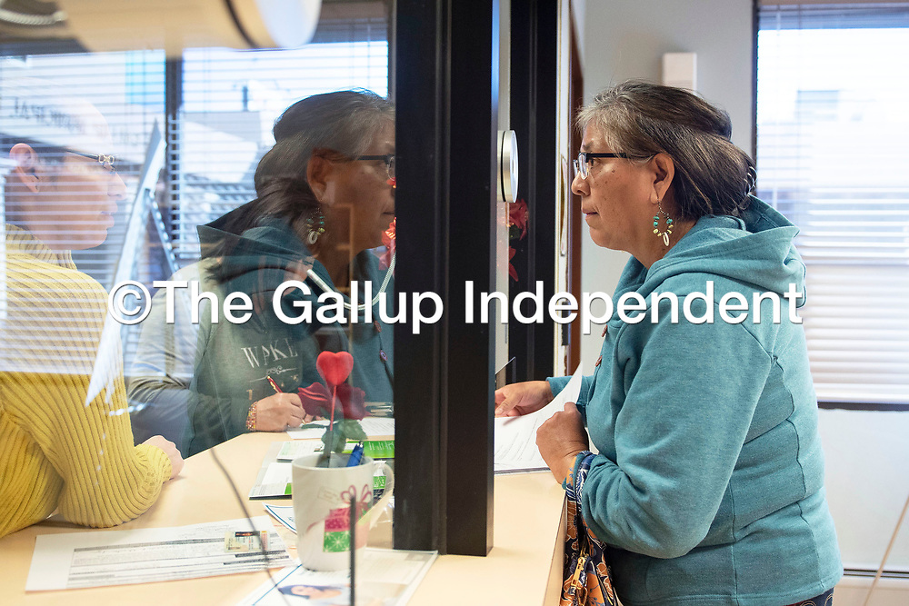 Yolanda Ahasteen-Azua visits the city clerk on candidate filing day to file for mayor Tuesday afternoon in Gallup.