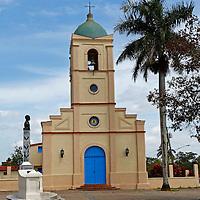 Central America, Cuba, Vinales. Church in the main central plaza of Vinales, Cuba.