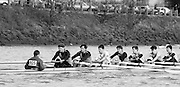Chiswick. London.<br /> Eights starting from Mortlake<br /> Westminster School.Stroke, Dave RICHES No. 7 <br /> 1987 Head of the River Race over the reversed Championship Course Mortlake to Putney on the River Thames. Saturday 28.03.1987. <br /> <br /> [Mandatory Credit: Peter SPURRIER;Intersport images] 1987 Head of the River Race, London. UK