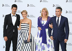© Licensed to London News Pictures. Novak Djokovic,  Jelena Ristic, Dijana and Srdjan Djokovic at the Novak Djokovic Foundation London gala dinner, The Roundhouse, London UK, 08 July 2013. Photo credit: Richard Goldschmidt/LNP