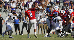 September 16, 2017 - Fort Worth, TX, USA - defensive linemen Mat Boesen (9) and Joseph Broadnax Jr. (54) close in on Southern Methodist quarterback Ben Hicks (8) in the third quarter at Amon Carter Stadium in Fort Worth, Texas, on Saturday, Sept. 16, 2017. Boesen was ejected from the game after his late hit on Hicks on the play. (Credit Image: © Paul Moseley/TNS via ZUMA Wire)