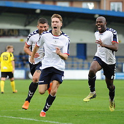 TELFORD COPYRIGHT MIKE SHERIDAN 13/10/2018 - GOAL. Henry Cowans of AFC Telford celebrates after he scores to make it 1-1 during the Vanarama National League North fixture between AFC Telford United and Chorley