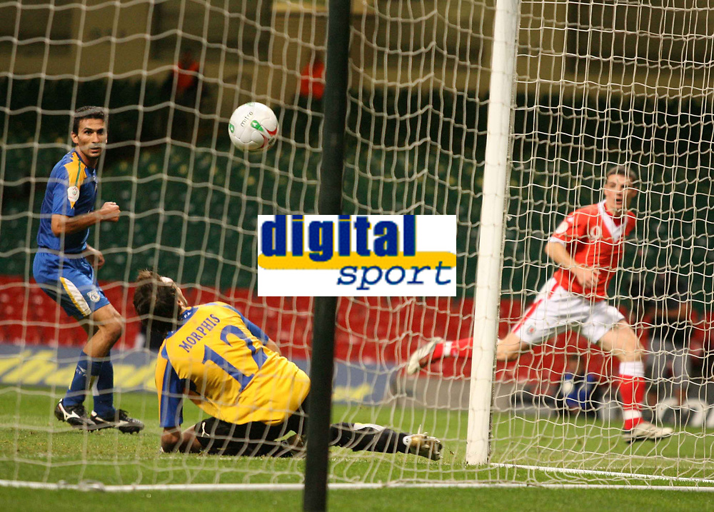 Photo: Rich Eaton.<br /> <br /> Wales v Cyprus. UEFA European Championships 2008 Qualifying. 11/10/2006. Jason Koumas far right of Wales pictured after scoring the first goal of the game