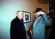 Howard Hodgkin and George Melly. Product: Richard Hamilton private view, Gagosian Gallery. London. 13 January 2003.  © Copyright Photograph by Dafydd Jones 66 Stockwell Park Rd. London SW9 0DA Tel 020 7733 0108 www.dafjones.com
