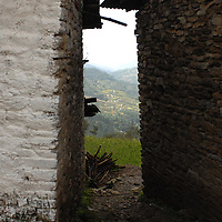 A view between two tea houses from a trail outside of Jiri, Nepal.