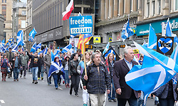 All Under One Banner March For Independence, Glasgow, Saturday 5th May 2018<br /> <br /> Thousands of people joined a march in support of Scottish Independence today in Glasgow.<br /> <br /> There were flags of many countries represented.<br /> <br /> The parade makes it's way down Union Street<br /> <br /> Alex Todd | EEm