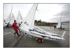 470 Class European Championships Largs - .NED28, Dirk BENNEN, Rogier WEIJERS, Haarlemsche Jacht Club Launching.