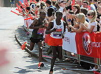 Athletics - 2018 Virgin Money London Marathon<br /> <br /> Eliud Kipchoge of Kenya leads the way ahead of Tola Shura Kitata of Ethiopia, at <br /> <br /> COLORSPORT/ANDREW COWIE