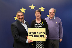 Edinburgh, Scotland, UK. 27 April, 2019. SNP ( Scottish National Party) Spring Conference takes place at the EICC ( Edinburgh International Conference Centre) in Edinburgh. Pictured; SNP candidate in upcoming European elections former MSP Christian Allard being photographed at the conference