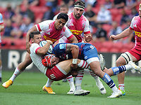 Rugby Union - 2020 / 2021 Gallagher Premiership - Semi-Final - Bristol Bears vs Harlequins - Ashton Gate<br /> <br /> S Piutau of Bristol tackles Danny Care of Harlequins<br /> <br /> Credit : COLORSPORT/Andrew Cowie