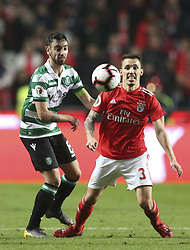 February 7, 2019 - Na - Lisbon, 06/02/2019 - SL Benfica received this evening the Sporting CP in the Stadium of Light, in game the account for the first leg of the Portuguese Cup 2018/19 semi final. Bruno Fernandes and Grimaldo  (Credit Image: © Atlantico Press via ZUMA Wire)