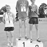28 June 2008; Winner of the Boys 1500m Ryan Monahan, Grange, Co. Sligo, with second place Liam Markham, St. Flannan's, Co. Clare, and third place Andrew Monaghan, St. Colman's Newry, Co. Down, at the KitKat Tailteann inter provincial track & field final. Morton Stadium, Santry, Dublin. Picture credit: Stephen McCarthy / SPORTSFILE *** NO REPRODUCTION FEE ***