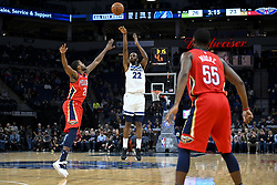 November 14, 2018 - Minneapolis, MN, USA - The Minnesota Timberwolves' Andrew Wiggins (22) hits a 3-point basket while being defended by the New Orleans Pelicans' Darius Miller (21) in the first half on Wednesday, Nov. 14, 2018, at Target Center in Minneapolis. (Credit Image: © Aaron Lavinsky/Minneapolis Star Tribune/TNS via ZUMA Wire)