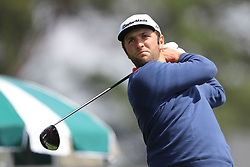April 8, 2018 - Augusta, GA, USA - Jon Rahm tees off on one during the final round of the Masters at Augusta National Golf Club on Sunday, April 8, 2018, in Augusta, Ga. (Credit Image: © Curtis Compton/TNS via ZUMA Wire)