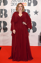 Adele arriving for the 2016 Brit Awards at the O2 Arena, London. Credit: Doug Peters/ EMPICS Entertainment