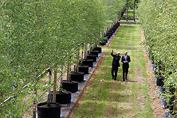 Around 2000 semi-mature British grown trees have been hand-picked for the London 2012 Olympic Park.  Image shows ODA Chairman John Armitt (pictured right) viewing the trees at the nursery of the selected supplier.