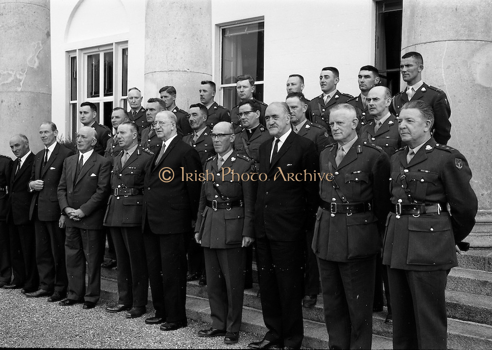 29/7/1964<br /> 7/29/1964<br /> 29 July 1964<br /> <br /> The Officers of the 3rd Infantry meeting the President <br /> <br /> (Front row R-L) Col. P. Curran QM, O'Cearnaigh and Mr P.M. O' Clairigh Sec. of Defence, Geralt Bartley Minister for Defence, Lt, Gen. Sean Macloin Chief of Staff, President Éamon de Valera, Col. Thomas McDonald, Minister Frank Aichen, Major Gen. Sean Powell, Col Brennan