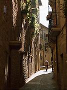The quiet narrow streets of Sos del Rey Catolico early in the morning, near San Sebastian, Spain