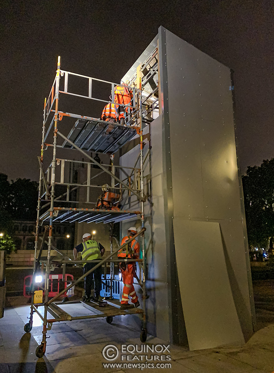 London, United Kingdom - 12 June 2020<br /> Winston Churchill statue being covered in protective scaffolding and sheet metal following Black Lives Matter protests, Parliament Square, London, England, UK.<br /> (photo by: EQUINOXFEATURES.COM)<br /> Picture Data:<br /> Photographer: Equinox Features<br /> Copyright: ©2020 Equinox Licensing Ltd. +443700 780000<br /> Contact: Equinox Features<br /> Date Taken: 20200612<br /> Time Taken: 01474251<br /> www.newspics.com