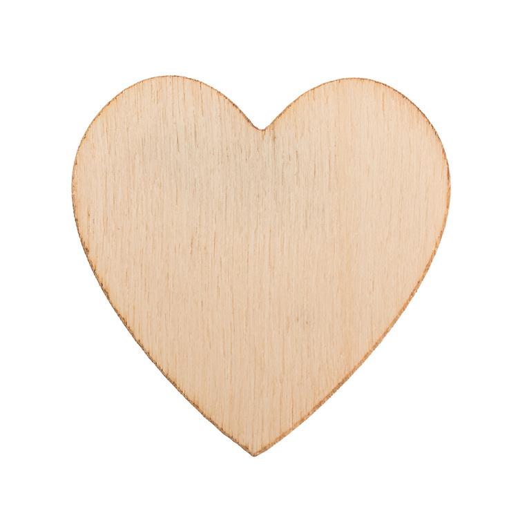 Heart shaped wood chip, wooden structure, isolated against a white background.