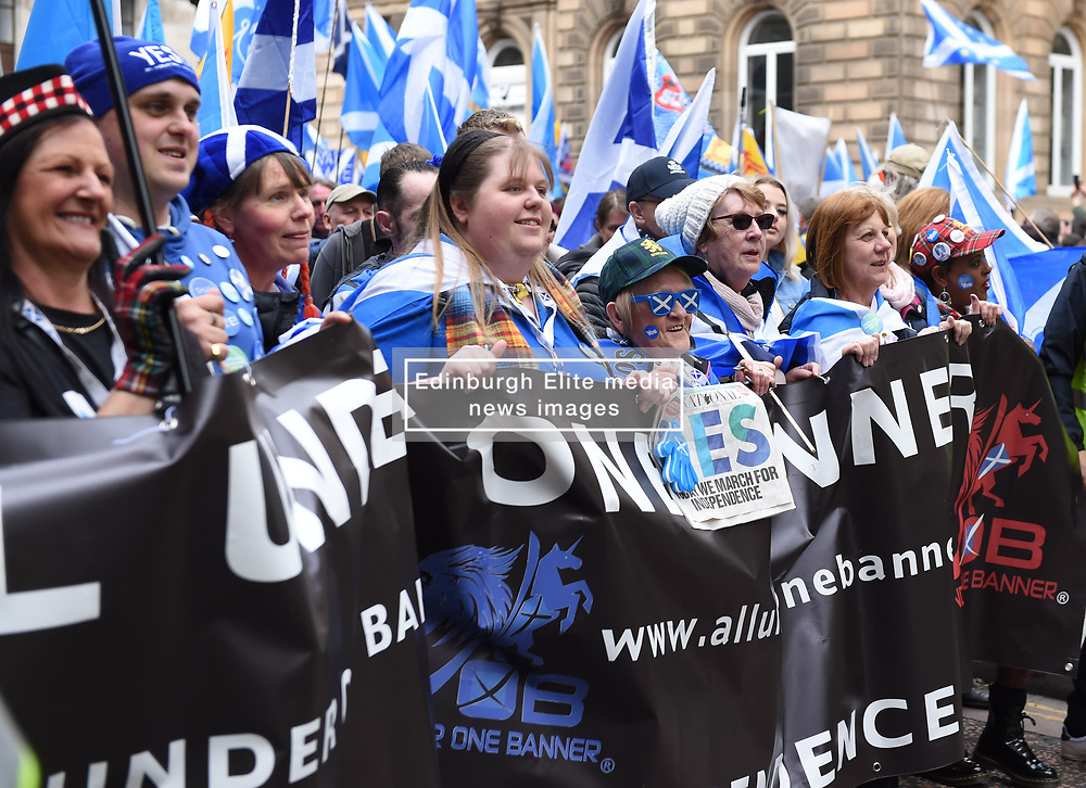 Supporters march through the streets of Glasgow during the All under One Banner Rally, Scottish Independence March, Angie Isac   EEm Thursday 11 May 2017