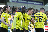 Burton Albion's Marvin Sordell celebrates his goal making it 1-0 to the Brewers during the EFL Sky Bet Championship match between Burton Albion and Leeds United at the Pirelli Stadium, Burton upon Trent, England on 22 April 2017. Photo by John Potts.
