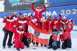 15.02.2021, Cortina, ITA, FIS Weltmeisterschaften Ski Alpin, Alpine Kombination, Herren, Siegerehrung, im Bild ÖSV Teamfoto, Marco Schwarz (AUT, Gewinner der Goldmedaille und Weltmeister Alpine Kombination 2021) // Winner of the gold medal and world champion Alpine combination 2021 Marco Schwarz of Austria with his Team during the winner ceremony for the men's alpine combined of FIS Alpine Ski World Championships 2021 in Cortina, Italy on 2021/02/15. EXPA Pictures © 2021, PhotoCredit: EXPA/ Johann Groder