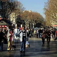 Europe, Spain, Barcelona. Las Ramblas of Barcelona.