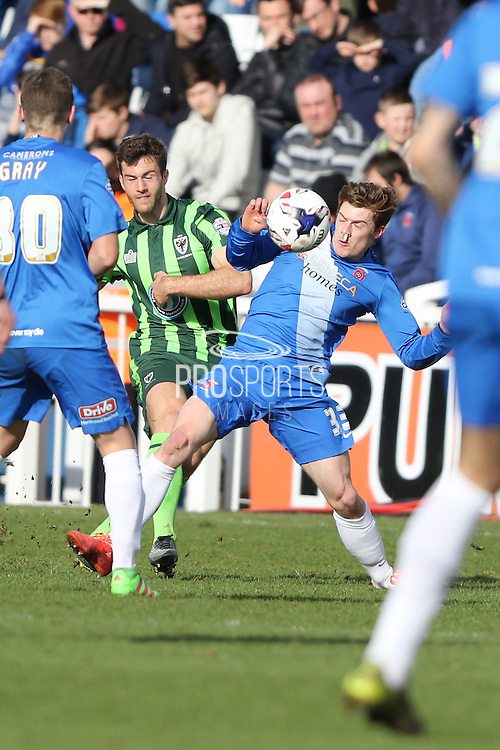 Jon Meades midfielder for AFC Wimbledon (12) during the Sky Bet League 2 match between Hartlepool United and AFC Wimbledon at Victoria Park, Hartlepool, England on 25 March 2016. Photo by Stuart Butcher.